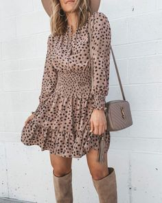 favorite dress for fall // long sleeved // animal print // short flowy dress // September Top 10 Extremely Gorgeous Winter Wear Ideas For Women Outfits Fall Dresses, Fall Outfits, Summer Outfits, Casual Outfits, Dresses Dresses, Dance Dresses, Sweater Outfits, Casual Dresses, Short Dresses