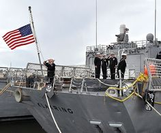 Navy Sailors salute the ensign as it is being lowered on the newly decommissioned USS Klakring (FFG-42). #americasnavy #usnavy navy.com