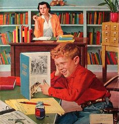 """Frog in the Library"". Dick Sargent (1911– 1978, American). Saturday Evening Post cover, February 25, 1956."