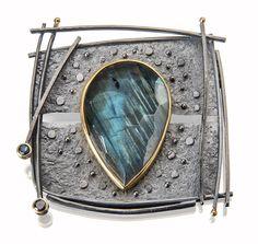 Labradorite and tourmalines:  pin/pendant www.sydneylynch.com #craft2wear  #smithsonian #acjs