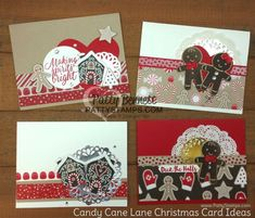 Handmade Christmas Card ideas featuring Stampin Up! Candy Cane Lane paper and Cookie Cutter Christmas stamp set and punch by Patty Bennett Cricut Christmas Cards, Christmas Scrapbook, Christmas Cards To Make, Handmade Christmas, Holiday Cards, Christmas Ideas, Christmas Cookie Cutters, Kids Cards, Stampin Up Cards