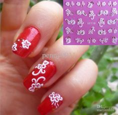 Cool Red Nail Art With 3D White Flower Decoration