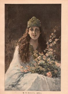 Vintage book page of young girl in crown with bouquet. She lives here . . .