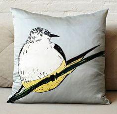 Gemma Orkin Round Bird Silk Pillow Cover from West Elm. Saved to Home Accessories. Scatter Cushions, Throw Pillows, E Room, Bird Pillow, Light Grey Walls, Modern Pillows, Pillow Fight, Decorative Pillow Covers, West Elm