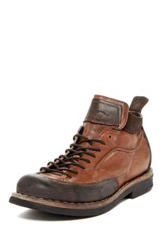 """Zion Lace-Up Boot in tan by True Religion $380 - $189 @HauteLook. - Round toe - Lace-up vamp - Topstitched detail - Leather panel construction - Back pull-tab - Lug sole - Approx. 4"""" shaft height - Made in Italy - Leather upper and lining, manmade sole"""