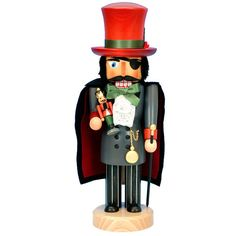 Herr Drosselmeyer Nutcracker  Christmas Decorations (4.985 CZK) ❤ liked on Polyvore featuring home, home decor, holiday decorations, ballet figure, ballet nutcracker, wooden figurines, christmas holiday decorations and holiday decor