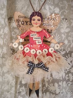 Cupcake Fairy doll Ornament by pinkbuttercreme on Etsy Vintage Christmas, Christmas Crafts, Christmas Decorations, Christmas Ornaments, Christmas Ideas, Vintage Paper Dolls, Vintage Crafts, Vintage Décor, Paper Art