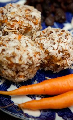 Carrot Cake Protein Balls_ Ingredients 1 c. shredded carrot 10 medjool dates ¼ c. raisins 1 Tbsp fresh ginger (finely minced) ½ c. unsweetened shredded coconut ¼ c. chopped walnuts 1 serving Vega Sport Performance Protein Vanilla (optional) 1 Tbsp cinnamon 1 c. water (coconut water) Extra water as needed Coconut for rolling Store in freezer.
