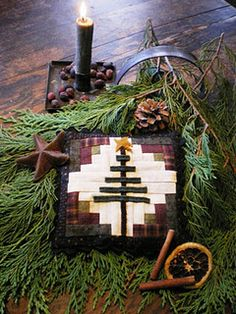 Tutorial & pattern for little tiny tree quilt... Could make a cute primitive mug rug too...