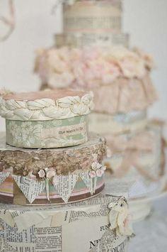 Shabby-cakes  elegante pastel decorado con papel