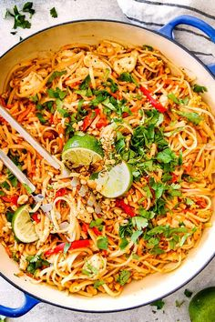 This Chicken Pad Thai Recipe rivals any restaurant but is made with pantry friendly ingredients, is less expensive and on your table in 30 minutes! It's smothered in the most irresistible savory, sweet, salty, sour Pad Thai Sauce with crunchy peanuts and veggies!