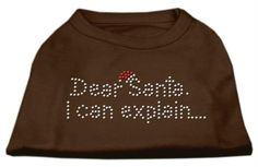 Mirage cat Products 16-Inch Dear Santa I Can Explain Rhinestone Print Shirt for cats, X-Large, Brown -- Tried it! Love it! Click the image. : Cat Apparel