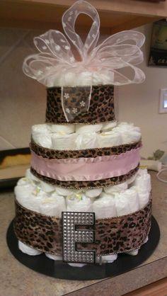 Diaper cake for baby girl shower