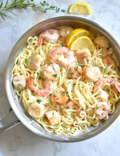 Creamy Seafood Pasta, Seafood Pasta Dishes, Pasta Ideas, Large Shrimp, Anniversary Dinner, Birthday Dinners, Healthy Dishes, Fresh Herbs, Cooking Time