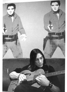 """John Cale with """"Elvis I and II"""", The Factory, NYC, 1964. Photo by Stephen Shore."""