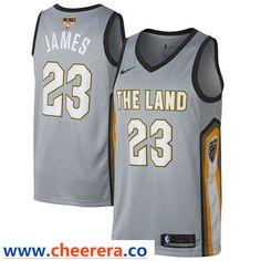 69ac411226a Nike Cavaliers #23 LeBron James Gray The Finals Patch NBA Swingman City  Edition Jersey Cavs