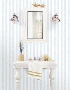 Carta da parati a righe azzurre effetto lino Vanity, Architecture, Rue, Furniture, Home Decor, Ideas, Letters, Dressing Tables, Arquitetura