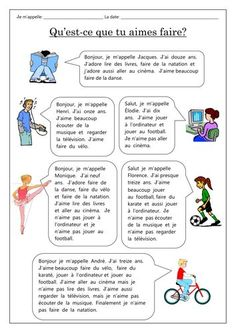 Dialogues from six children telling you which activities they love/like and don't like engaging in. Revises name/age/greetings/les loisirs & opinions. I have also included a worksheet of questions. There is also a second worksheet to practice more . French Language Lessons, French Language Learning, French Lessons, Spanish Lessons, Spanish Language, Dual Language, German Language, French Teaching Resources, Teaching French