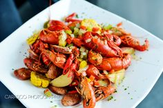 Crawfish served at a New Orleans wedding event from Wolfgang Puck Catering.
