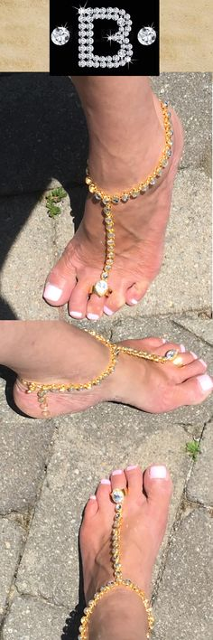 Boho Beach BareFoot Sandals with gold kundan diamante. Indian wedding shoes for the barefoot.