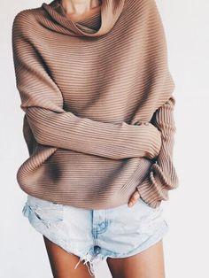 tan turtleneck oversized sweater