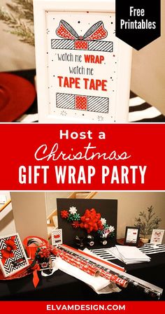 Stressing about all of the presents to wrap? Make it fun by hosting a ladies night gift wrap party. Grab these free printables full of rap puns from Elva M Design Studio and check out some tips to host a jolly gathering with all the big bows. #giftwrapparty #christmas #ladiesnight #freeprintables