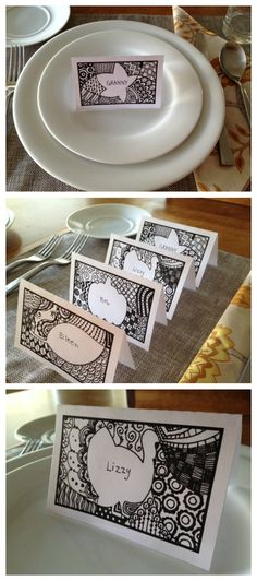 Need something quick and easy for your Thanksgiving place settings? Check out these free printable zen doodle place cards! DOWNLOAD FULL SIZE PRINTABLE HERE Printables by Juliann Law for Today's Mama is licensed under a Creative Commons Attribution-NonCommercial 3.0 Unported License. Based on a work at http://www.faboolous.blogspot.com/.