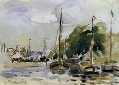 Boats at Dock - Camille Pissarro (French, 1830-1903) Impressionist, Pointillist Painter
