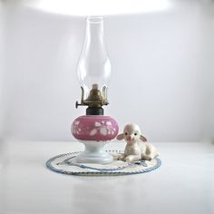 Vintage Cameo Milk Glass Kerosene Night Lamp by SugarLMtnAntqs, $49.95