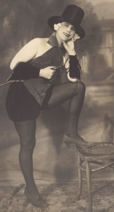 Young Man in Drag. Cabaret Image, German RPPC, circa 1920s