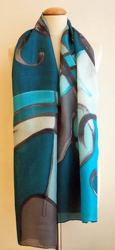 Pañuelo de seda pintado a mano.Regalos para ellas.Fular pintado a mano.180x45 cm.Chal para boda.Fular pintado estilo abstracto