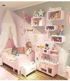 Toddler girl bedrooms;   play kitchen; kids rooms; kids bedrooms