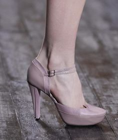 Nina Ricci - a pale pink pump with a double ankle strap and hidden platform