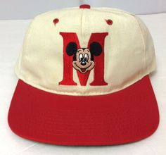vtg MICKEY MOUSE LETTER-M SNAPBACK HAT Beige/Red Disney 90s MADE USA Men/Women #Disney #BaseballCap