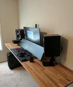 Setup Desk, Computer Desk Setup, Gaming Room Setup, Pc Desk, Home Office Setup, Pc Setup, Home Office Design, House Design, Computer Workstation