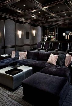 Find more ideas: Basement Home Theater Lighting Ideas Small Home Theater Rooms Ceiling Decorations Home Theater Speakers System & Projector Home Theater Furniture On A Budget DIY Home Theater Seating Design Home Theater Lighting, Home Theater Room Design, Home Cinema Room, Home Theater Furniture, Home Theater Decor, Best Home Theater, At Home Movie Theater, Home Theater Rooms, Home Theater Seating
