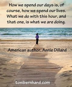 How we spend our days is how we spend our lives...