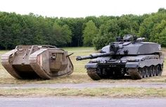 History of tank in one photo - British I world war Mark IV tank and Challenger 2 - modern mbt