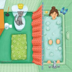 Julissa Mora is Children's illustrator living in Austin, Texas. She creates happy and whimsical art for kids books, coloring activities, greeting cards, prints and more. Bath Art, Bathroom Art, Bathroom Paintings, Saunas, Man And Dog, Splish Splash, Sketchbook Inspiration, Illustration Girl, Bubble Bath