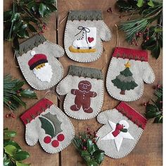 The Warm Hands Felt Christmas Ornament Kit from Rachel's of Greenfield makes 6 unique mitten ornaments. Kit includes felt, embroidery floss for embellishment, gold string for hanging, complete patterns, and illustrated instructions. Felt Christmas Ornaments, Noel Christmas, Primitive Christmas, Handmade Christmas, Christmas Stockings, Christmas Decorations, Snowman Ornaments, Ornaments Ideas, Winter Christmas
