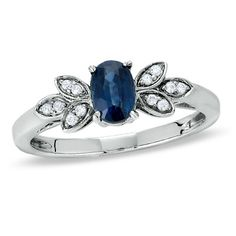 Oval Sapphire Ring in Sterling Silver with Diamond Accents $99 <--- if I wore ventagy lacy clothes I'd totally love this ring