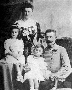 His Imperial and Royal Highness, Franz-Ferdinand, Archduke of Austria-Este, Royal Prince of Hungary and Bohemia, and his wife Sophie, Duchess of Hohenberg, with Sophie and Max,two of their three children. Unusually for a Habsburg, Franz Ferdinand married for love, and his wife and family were made to suffer for it at court.  After the murder of  their parents at Sarajevo, Sophie, Max and Ernst ultimately wound up in Dachau after Hitler took over Austria, but survived. Sophie lived until…
