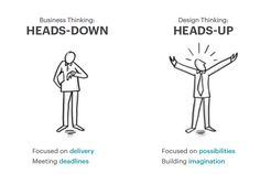 Design Thinking is a heads up approach focused on possibilities.