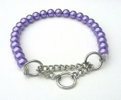 Chunky Purple Pearl Dog Collar Buckle Collars by BeadieBabiez