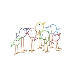 Bird Embroidery Pattern Woodland Animal от teenytinyhappythings