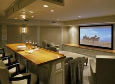 Media Room Design. This is where you want to watch football with your friends! #mediaroom #mediaroomideas #TheatreRoom
