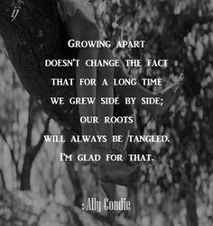 Growing apart doesn't change the fact that for a long time we grew side by side; our roots will always be tangled. I'm glad for that.  : Ally Condie  ;)i(:  https://www.facebook.com/myceremony1203  [original photography credit welcomed]