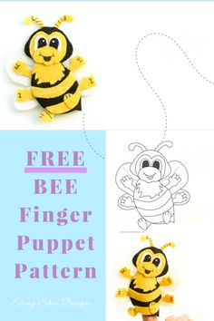 Free PDF Pattern.  Bee finger Puppet. Grab your FREE BEE finger puppet pattern and get special discounts and tips sent straight to your inbox.  www.ebonyshaedesigns.com