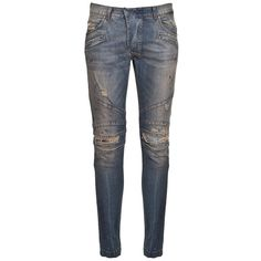 PIERRE BALMAIN Men's Slim-Fit Distressed Biker Jeans ($357) ❤ liked on Polyvore featuring men's fashion, men's clothing, men's jeans, mens distressed jeans, mens slim cut jeans, mens torn jeans, mens slim fit jeans and mens jeans