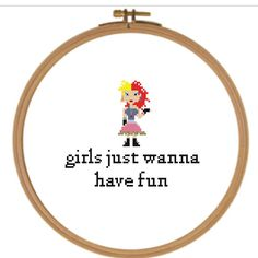 Excited to share the latest addition to my #etsy shop: Cyndi Lauper Girls Just Wanna Have Fun music cross stitch PATTERN http://etsy.me/2n5ZqW8 #art #fiberart #girls #fun #music #songs #christmas #cyndilauper #80s